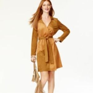 NEW $129 INC Suede Wrap Dress Brown 6 Patchwork